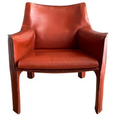 Cognac Leather Cab Lounge Chair by Mario Bellini, 1970s