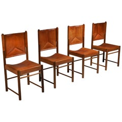 Cognac Leather Dining Chairs, Italy 1960s, Set of Four