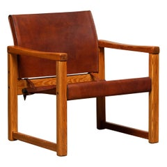 Cognac Leather Karin Mobring Safari Armchair Model Diana by Ikea in Sweden 1970s
