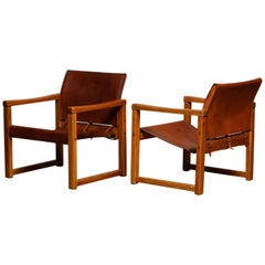Cognac Leather Karin Mobring Safari Armchairs Model Diana, Ikea in Sweden, Pair