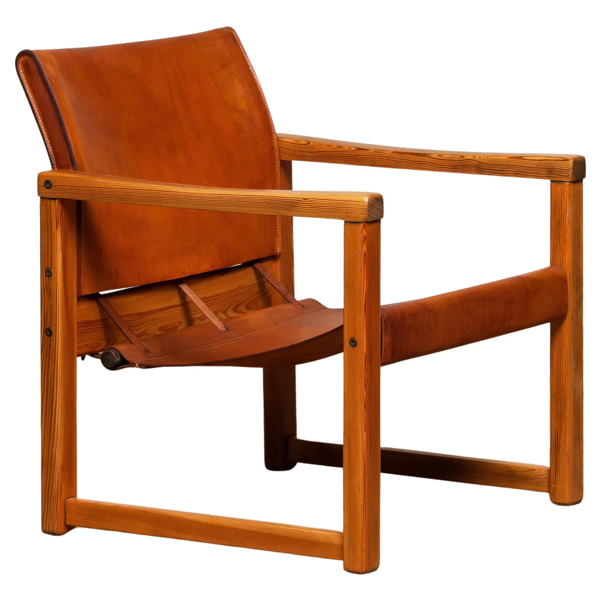 Cognac Leather Karin Mobring Safari Chair Model Diana by Ikea in Sweden, 1970s