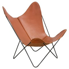 Cognac Leather Knoll Butterfly Chair