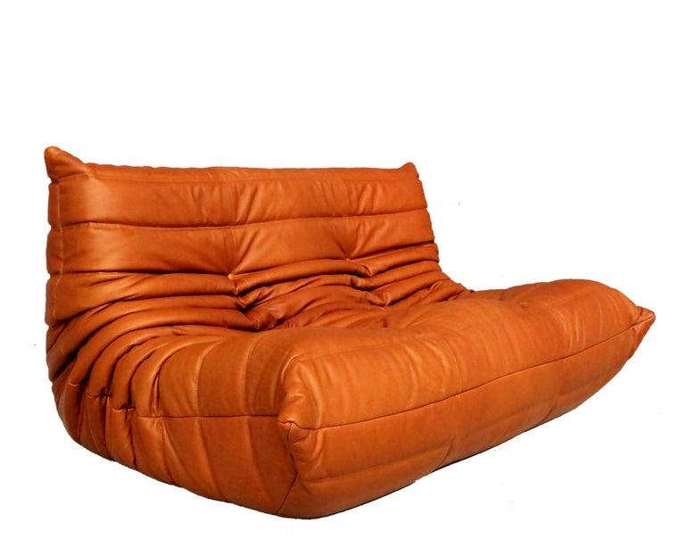 Post-Modern Cognac Leather Ligne Roset Togo Sofa Set, Designed by Michel Ducaroy, 1998 For Sale