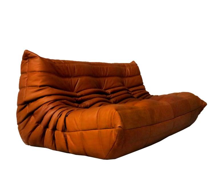 French Cognac Leather Ligne Roset Togo Sofa Set, Designed by Michel Ducaroy, 1998 For Sale