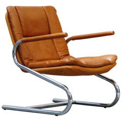 Cognac Leather Lounge Chair Attributed to Guido Faleschini for Mariani, 1970s