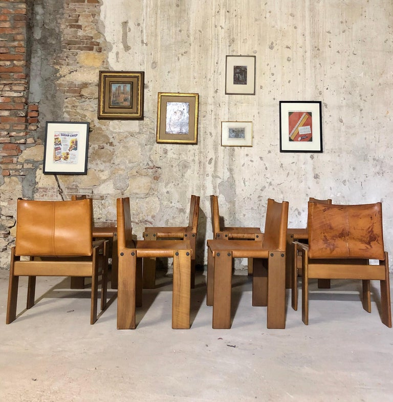 """Cognac Leather """"Monk"""" Chairs, Afra & Tobia Scarpa Design for Molteni, Set of 8 For Sale 4"""