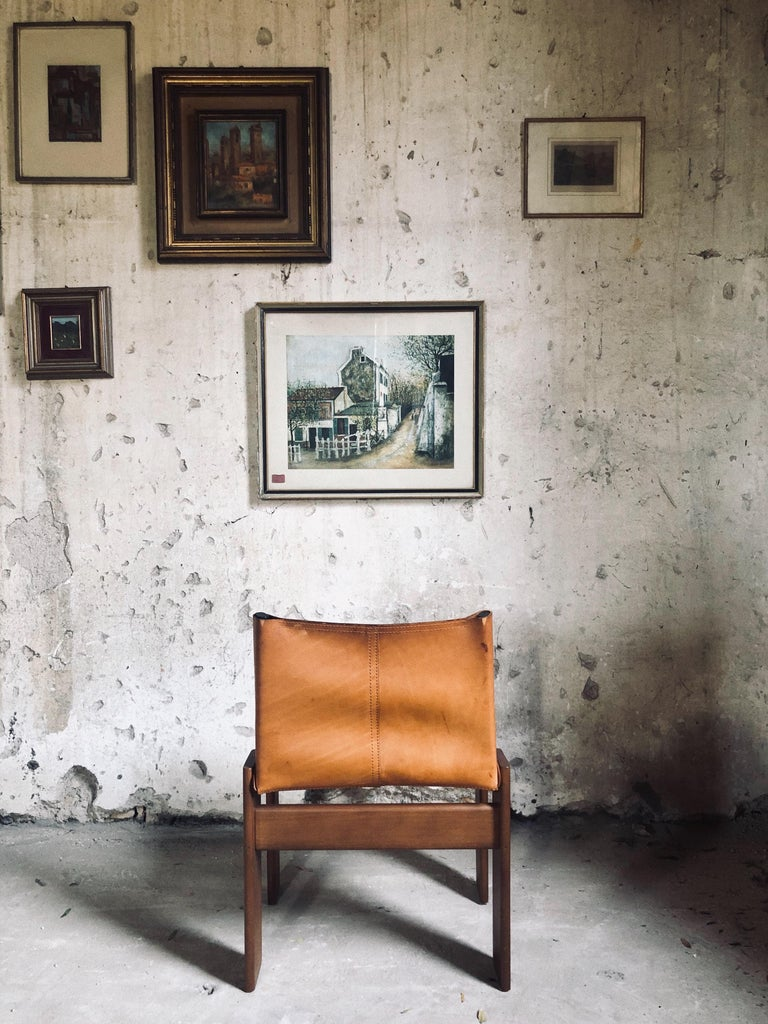 """Cognac Leather """"Monk"""" Chairs, Afra & Tobia Scarpa Design for Molteni, Set of 8 For Sale 7"""