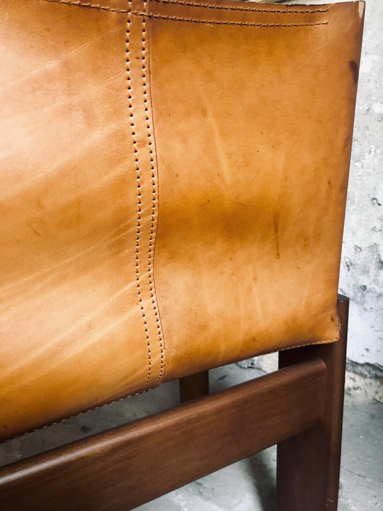 """Cognac Leather """"Monk"""" Chairs, Afra & Tobia Scarpa Design for Molteni, Set of 8 For Sale 9"""