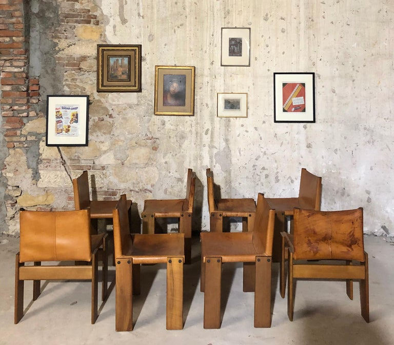"""Set of 8 Cognac Leather """"Monk"""" Chairs, Afra & Tobia Scarpa design for Molteni, 1973. Very good vintage condition. Four chairs with very slight signs of time. 4 chairs with some spots and signs of time. Structure is perfect."""