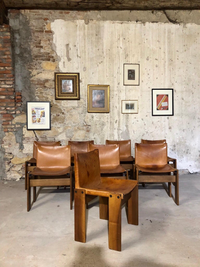 """Mid-Century Modern Cognac Leather """"Monk"""" Chairs, Afra & Tobia Scarpa Design for Molteni, Set of 8 For Sale"""