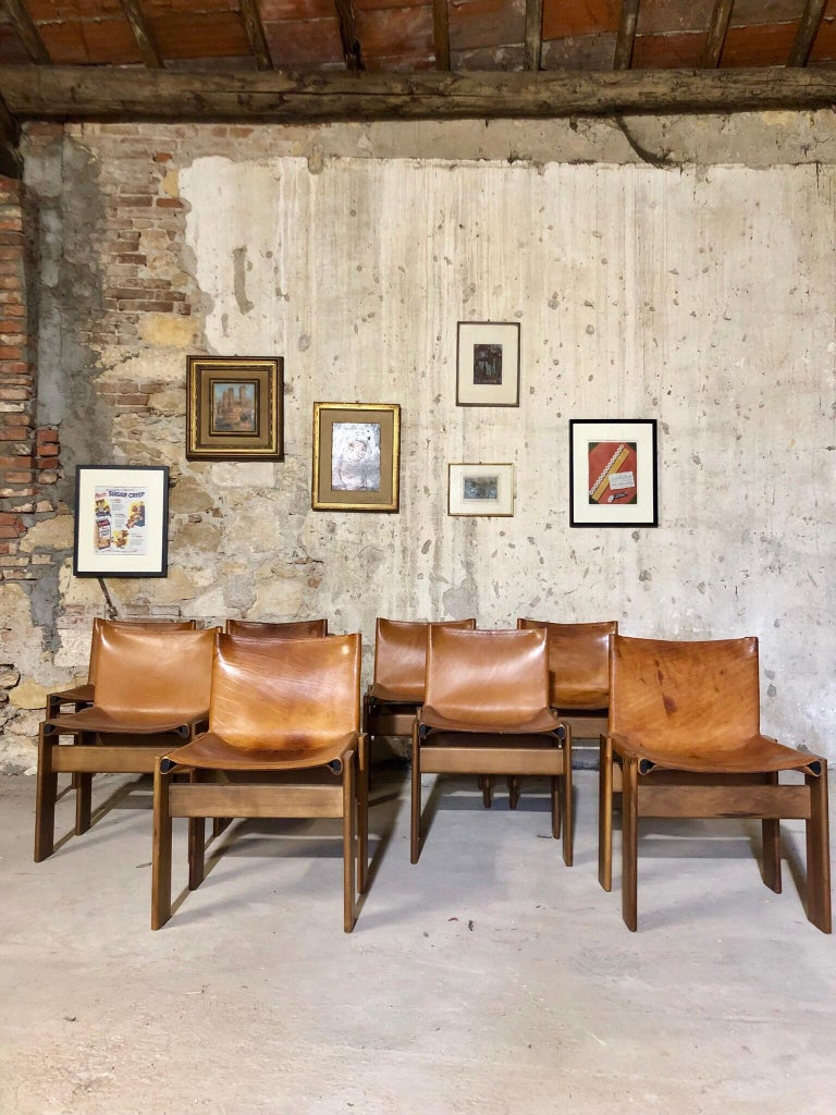 """European Cognac Leather """"Monk"""" Chairs, Afra & Tobia Scarpa Design for Molteni, Set of 8 For Sale"""