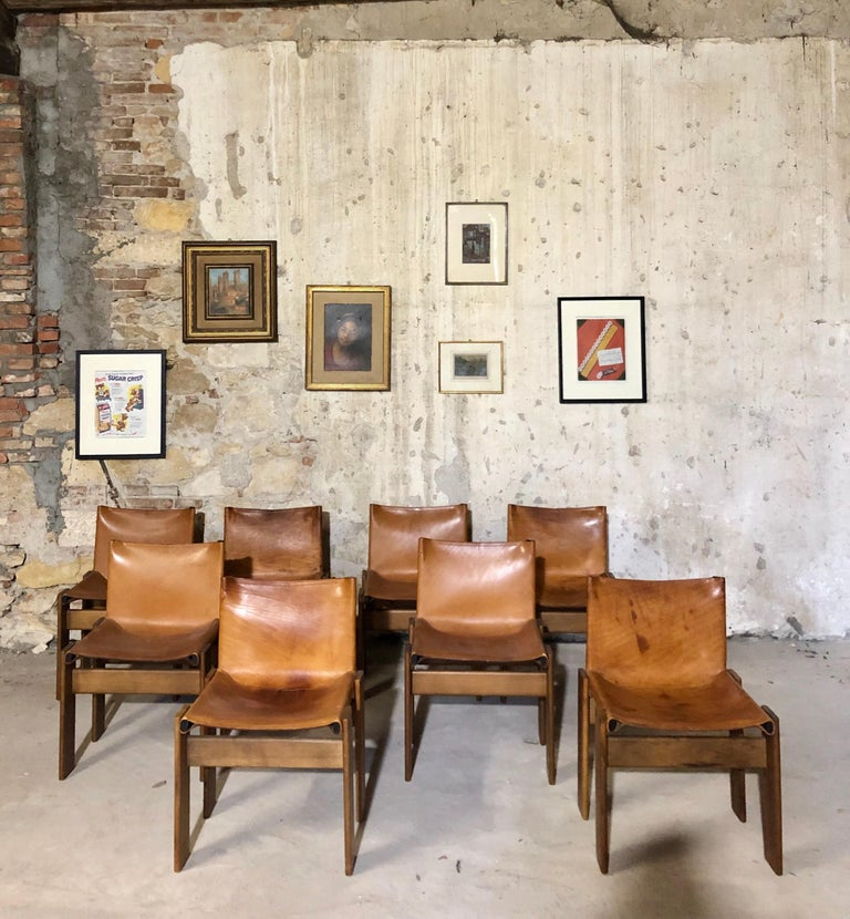"""Cognac Leather """"Monk"""" Chairs, Afra & Tobia Scarpa Design for Molteni, Set of 8 In Good Condition For Sale In Lonigo, IT"""