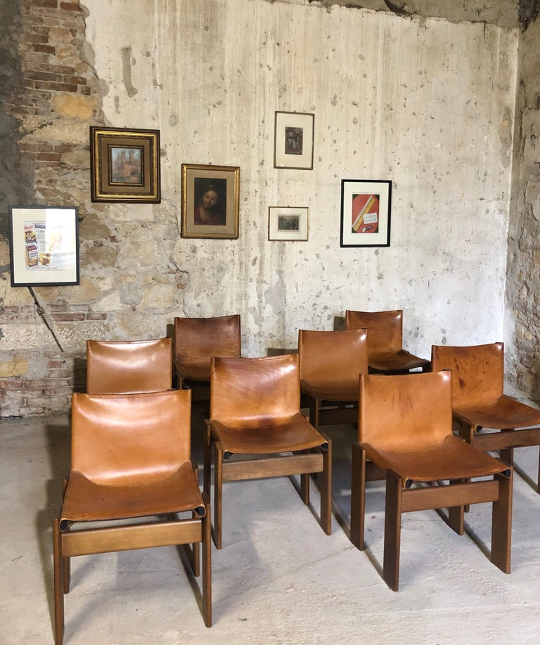 """Late 20th Century Cognac Leather """"Monk"""" Chairs, Afra & Tobia Scarpa Design for Molteni, Set of 8 For Sale"""