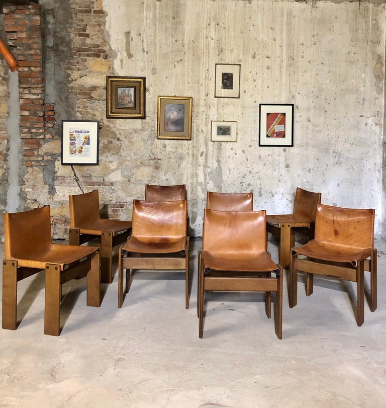 """Cognac Leather """"Monk"""" Chairs, Afra & Tobia Scarpa Design for Molteni, Set of 8 For Sale 1"""