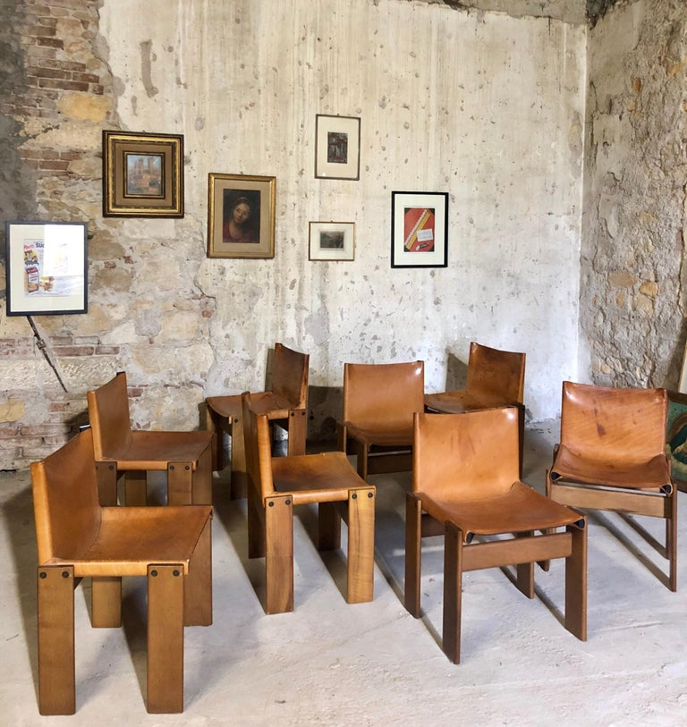"""Cognac Leather """"Monk"""" Chairs, Afra & Tobia Scarpa Design for Molteni, Set of 8 For Sale 2"""