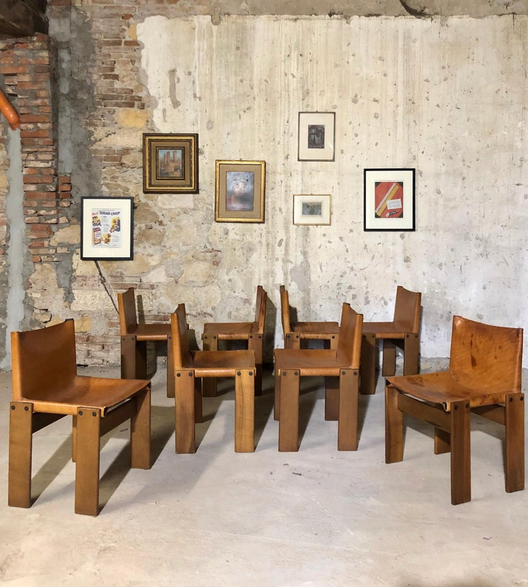 """Cognac Leather """"Monk"""" Chairs, Afra & Tobia Scarpa Design for Molteni, Set of 8 For Sale 3"""