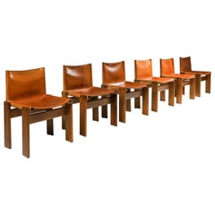 Cognac Leather 'Monk' Dining Chairs by Afra & Tobia Scarpa