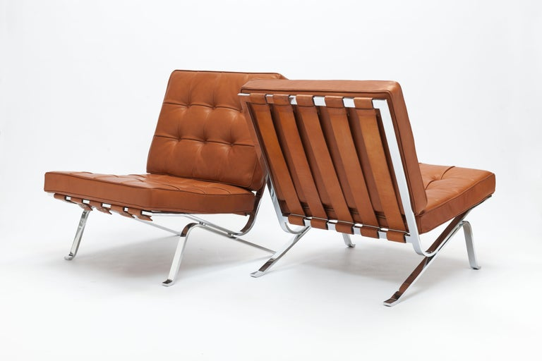 Cognac Leather RH301 Lounge Chair by Robert Haussmann 'Pair Available' For Sale 10