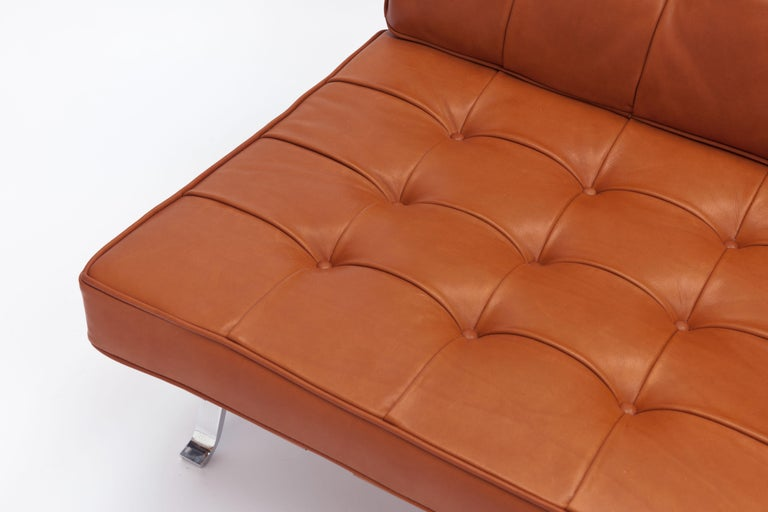 Steel Cognac Leather RH301 Lounge Chair by Robert Haussmann 'Pair Available' For Sale