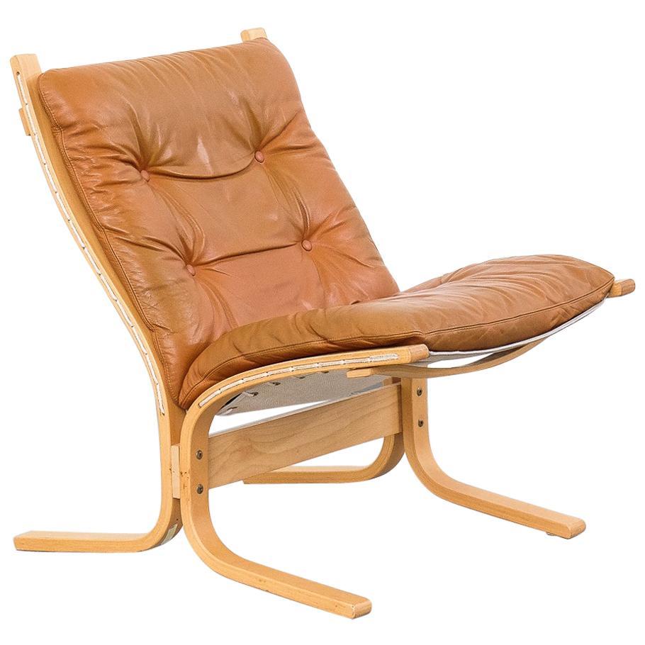 """Cognac Leather """"Siesta"""" Chair by Ingmar Relling for Westnofa"""