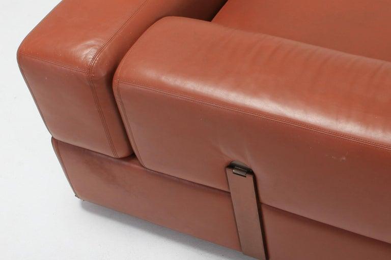 Cognac Leather Sofa by Tito Agnoli for Cinova For Sale 3