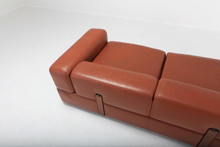 Cognac Leather Sofa by Tito Agnoli for Cinova For Sale 4