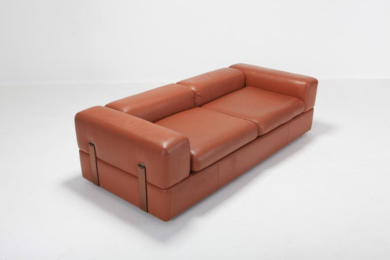 Tito Agnoli for Cinova, sofa bed 711 in cognac leather, Italy, 1960s 