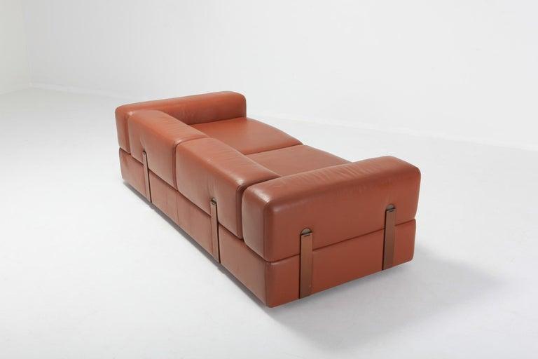Post-Modern Cognac Leather Sofa by Tito Agnoli for Cinova For Sale