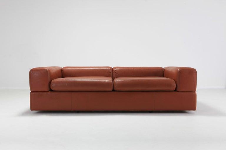 Italian Cognac Leather Sofa by Tito Agnoli for Cinova For Sale