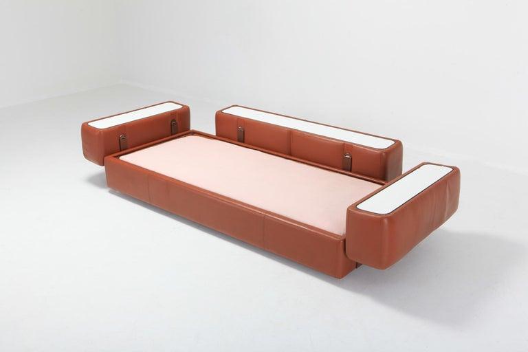 20th Century Cognac Leather Sofa by Tito Agnoli for Cinova For Sale