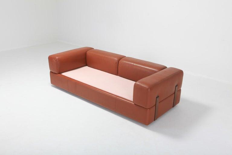 Steel Cognac Leather Sofa by Tito Agnoli for Cinova For Sale
