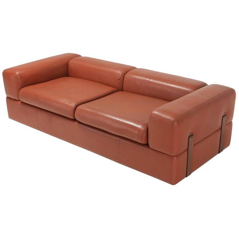 Cognac Leather Sofa by Tito Agnoli for Cinova For Sale