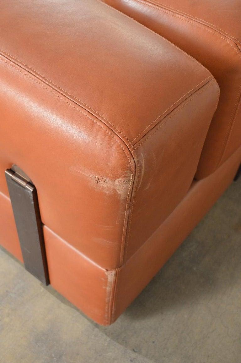 Tito Agnoli Cognac Leather Sofa Daybed for Cinova 3