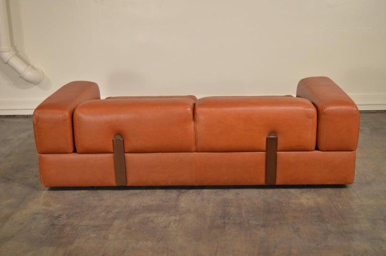 Tito Agnoli Cognac Leather Sofa Daybed for Cinova 2