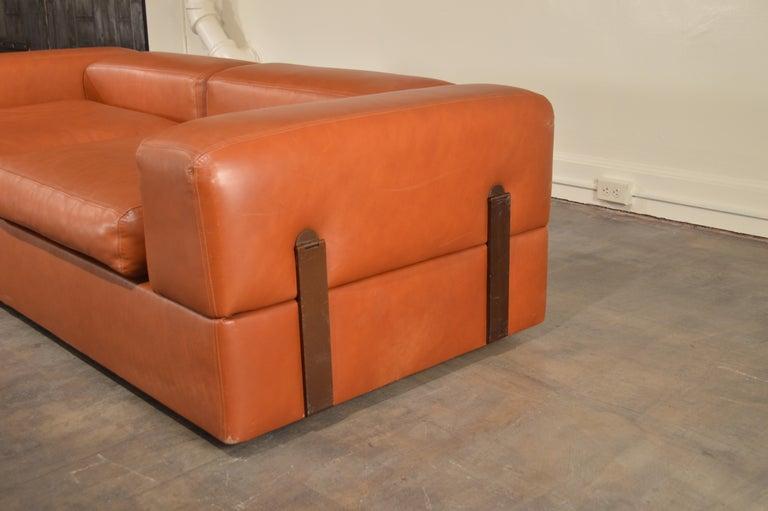 Post-Modern Tito Agnoli Cognac Leather Sofa Daybed for Cinova