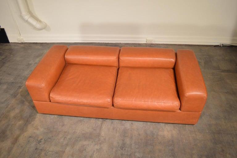 Italian Tito Agnoli Cognac Leather Sofa Daybed for Cinova