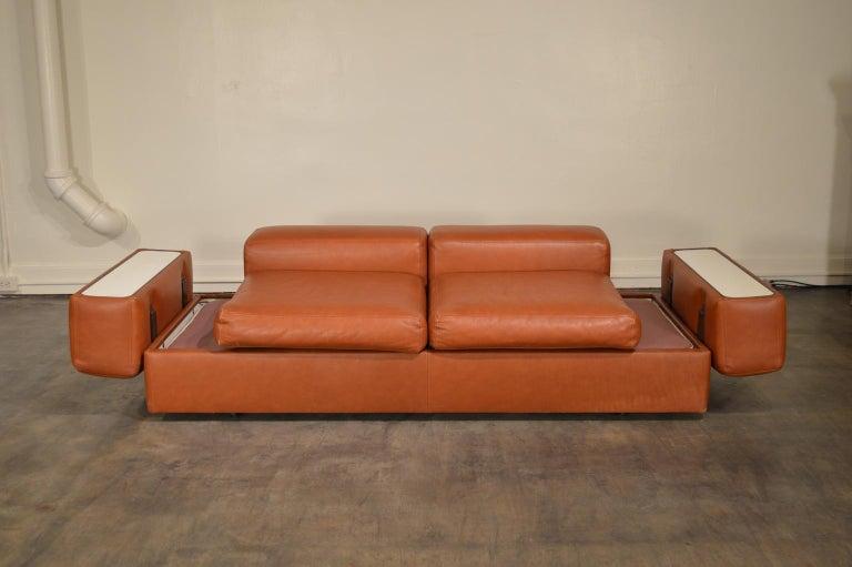Tito Agnoli Cognac Leather Sofa Daybed for Cinova In Good Condition In Portland, ME