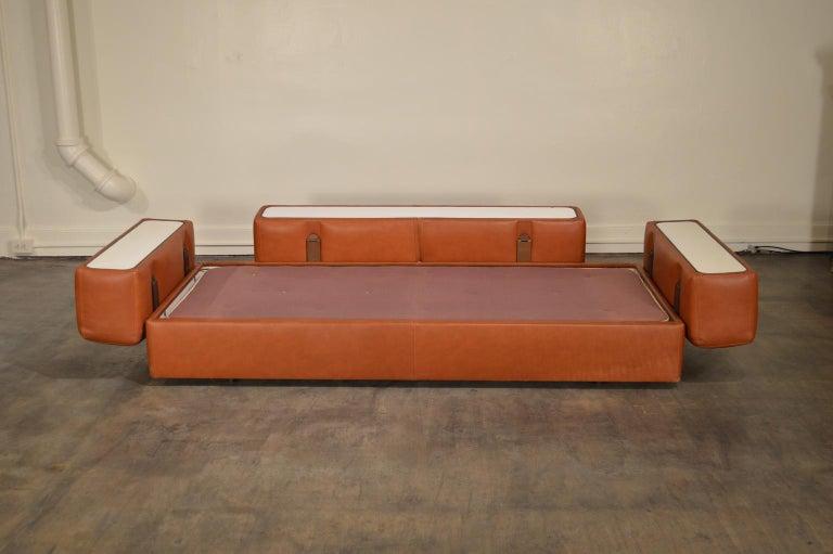 Mid-20th Century Tito Agnoli Cognac Leather Sofa Daybed for Cinova