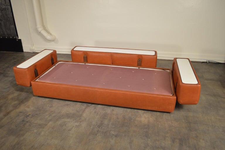 Tito Agnoli Cognac Leather Sofa Daybed for Cinova 1