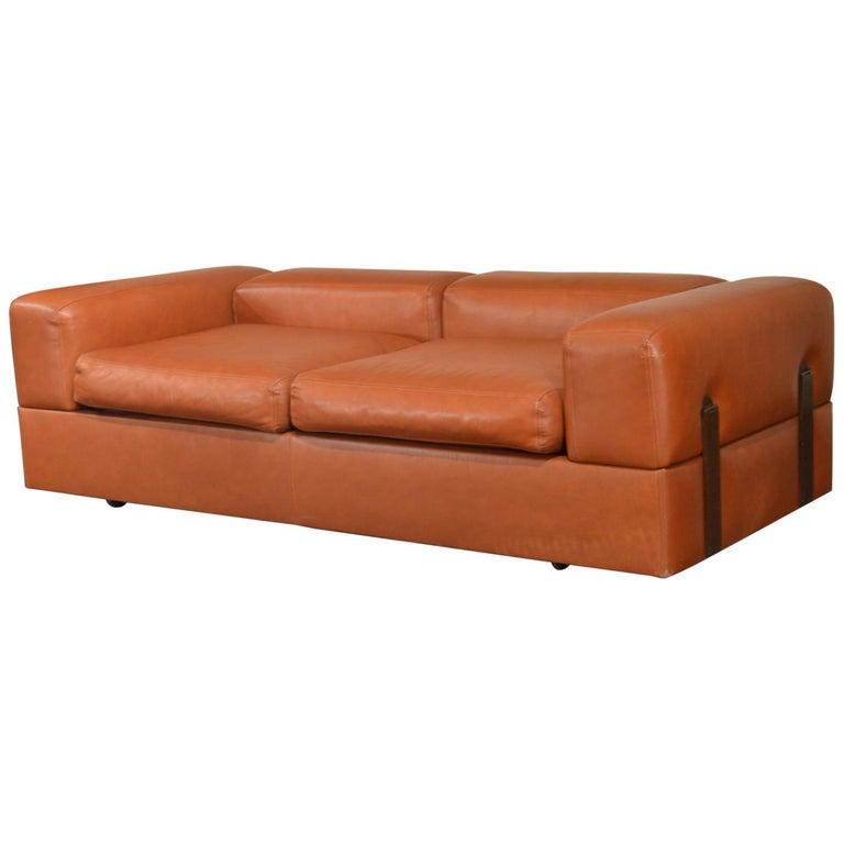 Tito Agnoli Cognac Leather Sofa Daybed for Cinova