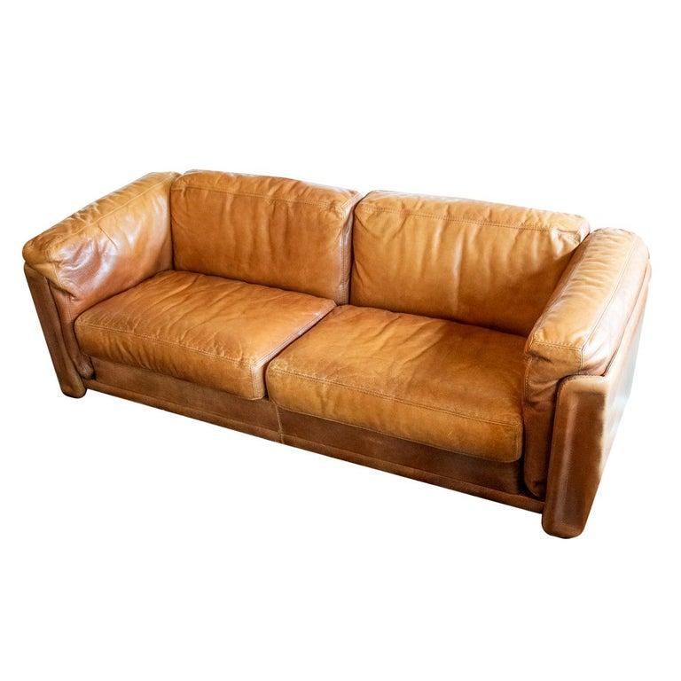 Cognac Leather Sofa Italy 1970s 1980s