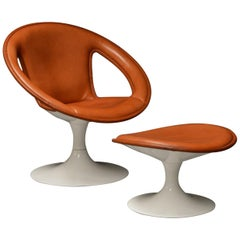 Cognac Leather Swivel Lounge Chair and Ottoman