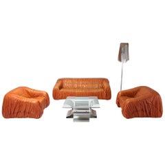 Cognac 'Piumino' Living Room Set by De Pas, D'urbino & Lomazzi
