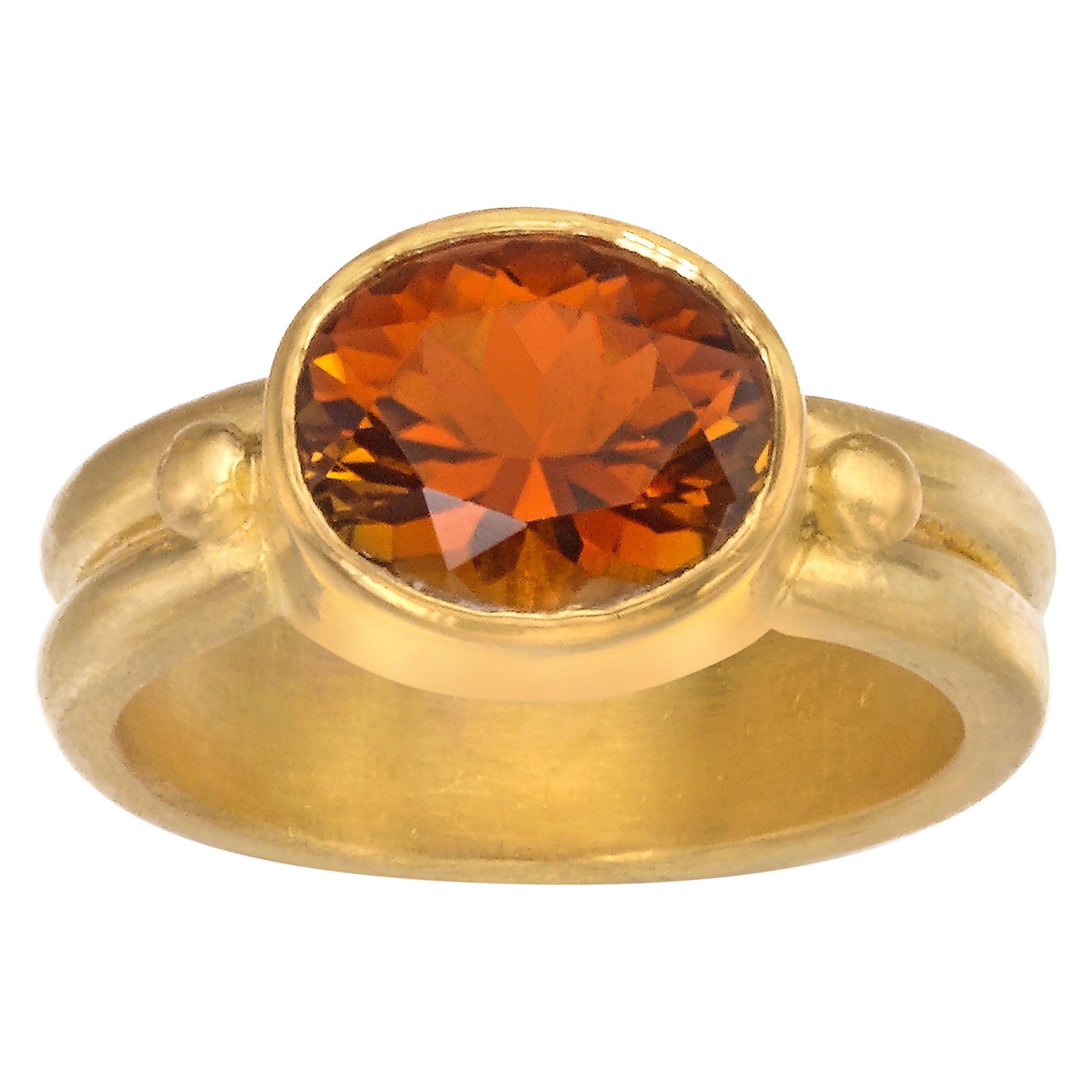 Cognac Tourmaline Ring in 22 Karat Yellow Gold