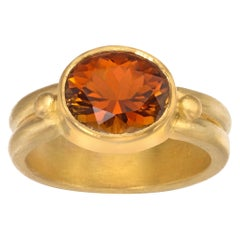 Cognac Tourmaline Ring in 22 Karat Yellow Gold