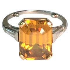 Cognac Zircon and White Diamond Ring in Platinum