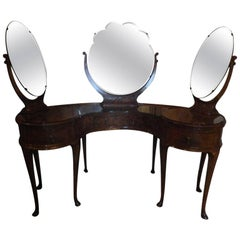 Coiffeuse or Dressing Table with Three Mirrors on Pad Feet, 19th Century