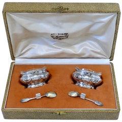 Coignet French Sterling Silver 18-Karat Gold Salt Cellars Pair, Spoons, Box