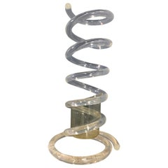 Coiled Lucite Umbrella Stand by Dorothy Thorpe Midcentury