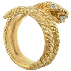 "Coiled ""Mr. Snake II"" Ring in 18 Karat Yellow Gold with Diamond Eyes and Snack"